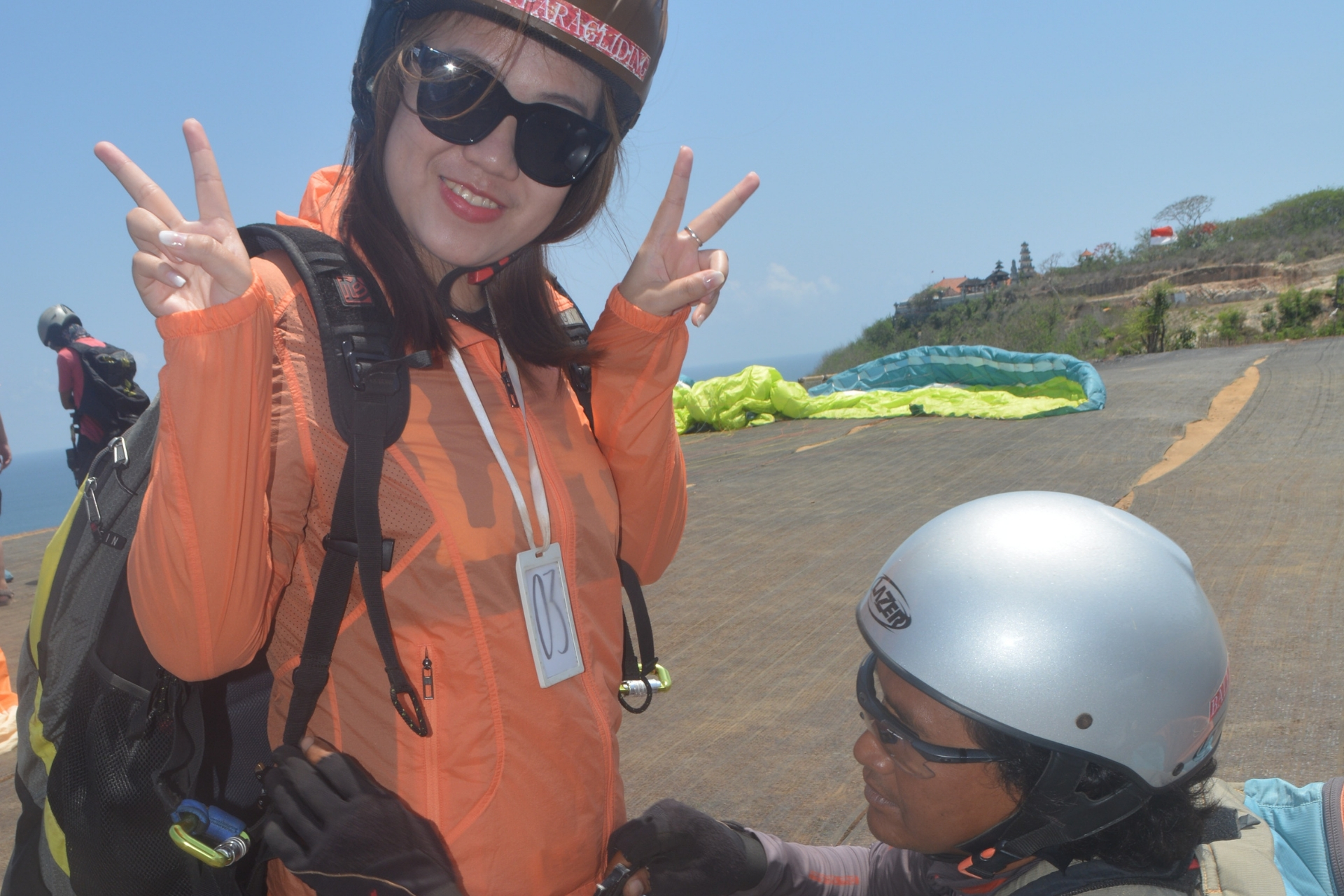 Use of Parachutes and helmets Activity Tourism Paragliding Adventure in Bali Paragliding