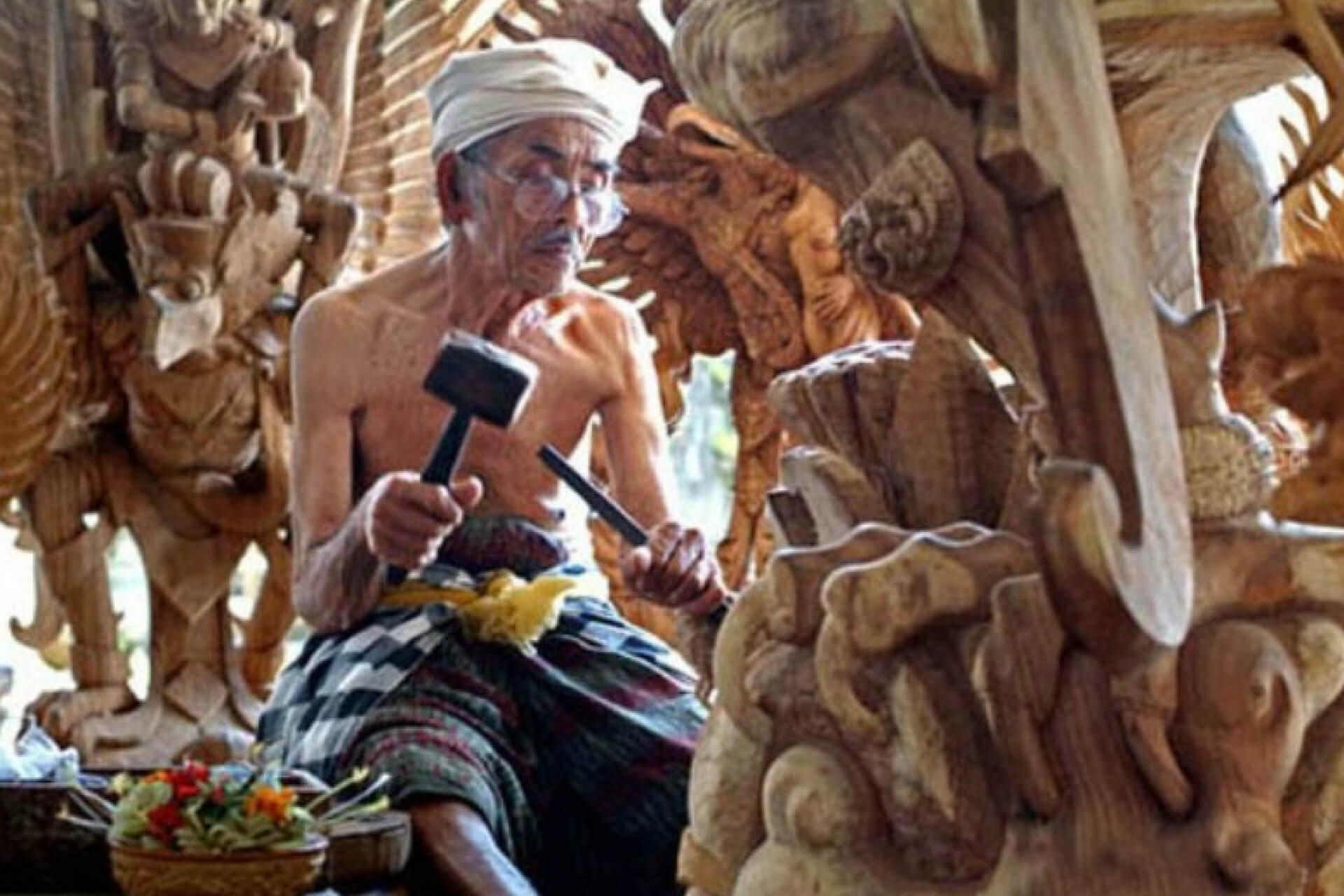 Wood Carving Crafts in Mas Village Gianyar
